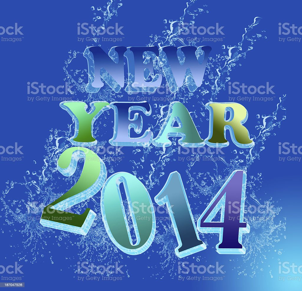NEW YEAR 2014 water font royalty-free stock photo