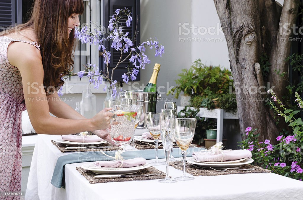 Water for the table in an outdoor garden party stock photo