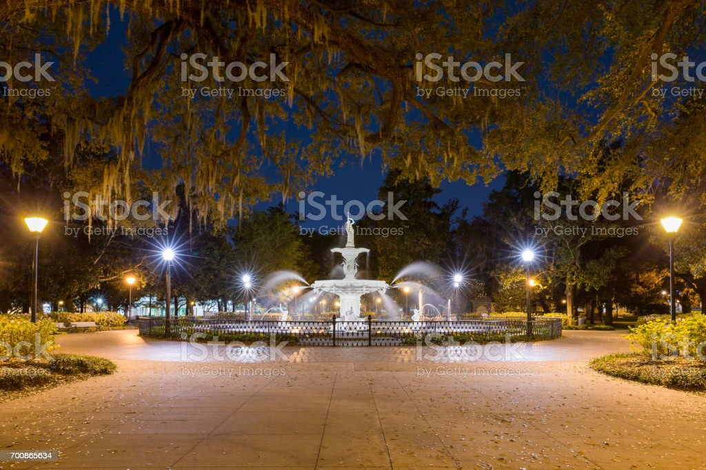 Water Fountain at Night stock photo