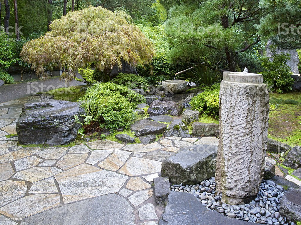 Water Fountain Concrete Bamboo Stone Portland Japanese Garden Oregon Stock  Photo U0026 More Pictures Of Autumn | IStock