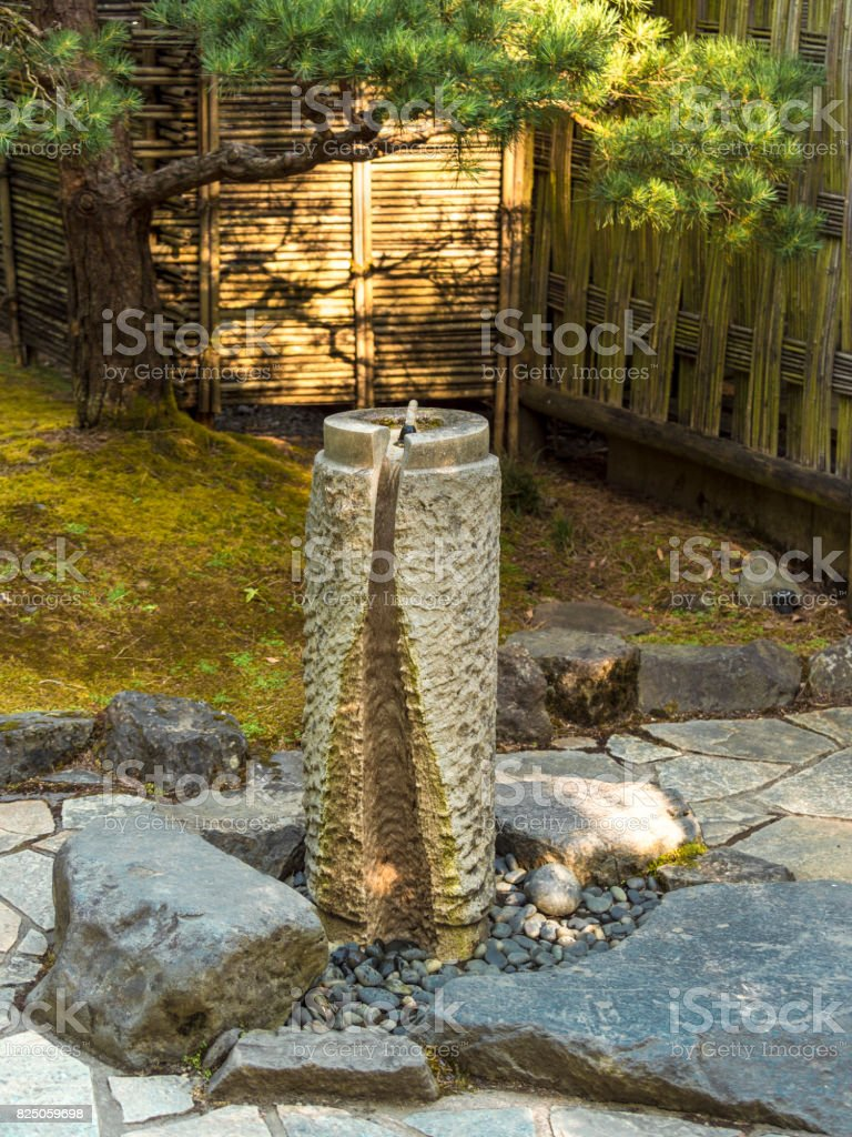 Water Fountain Concrete Stone Bamboo Fence Portland Japanese ...