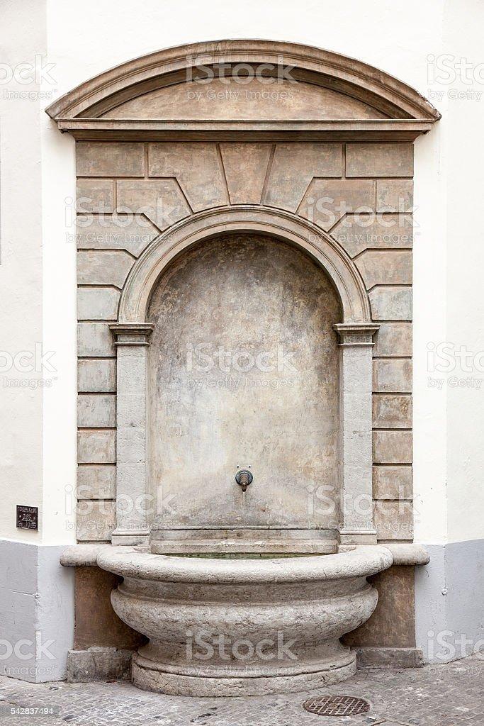 Water fountain downtown Luzern, Switzerland stock photo