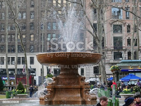 istock Water fountain in Bryant Park 665603908
