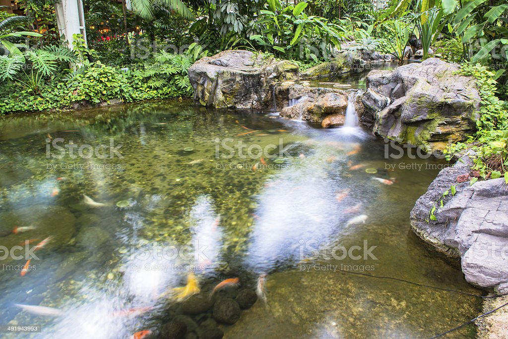 Water fountain in garden or park stock photo
