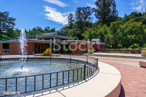 Water fountain in Los Gatos Civic Center; the Town Hall building visible in the background; south San Francisco bay area, California