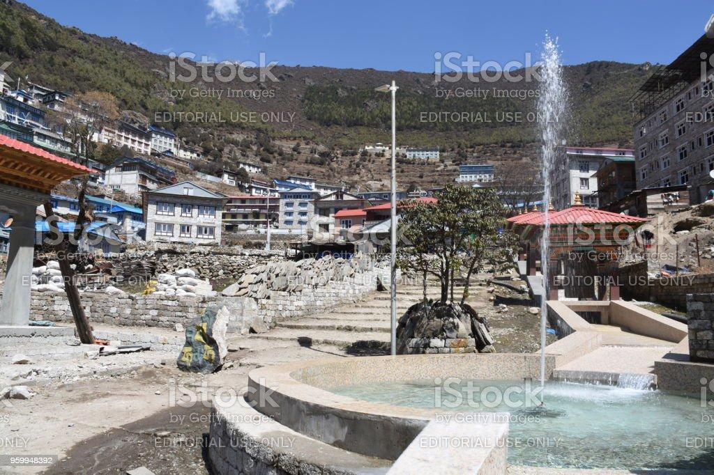 Water fountain in Namche Bazaar stock photo