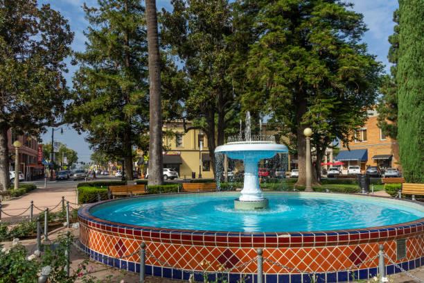 Water fountain in Old Town Orange, California stock photo