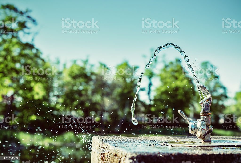 Water Fountain in Sunlight stock photo
