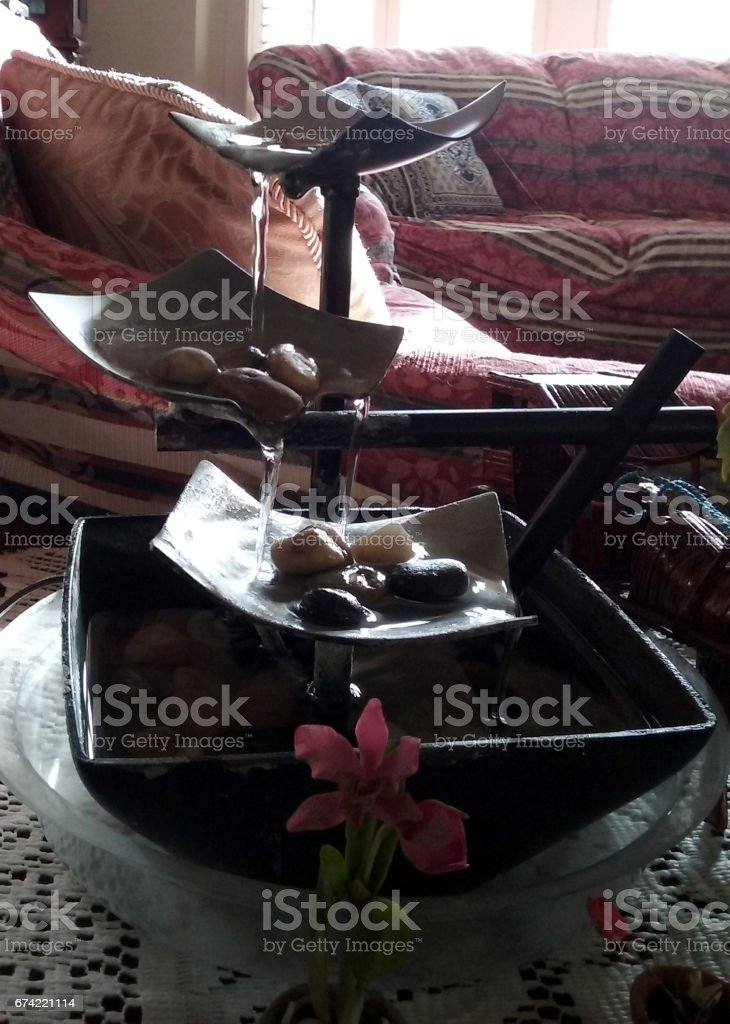 A Water Fountain in the Living Room stock photo
