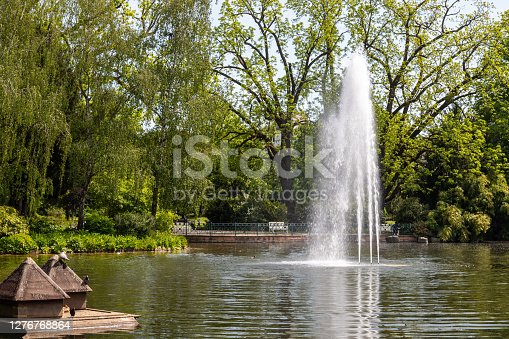 Water fountain in the park Warmer Damm in Wiesbaden, Germany