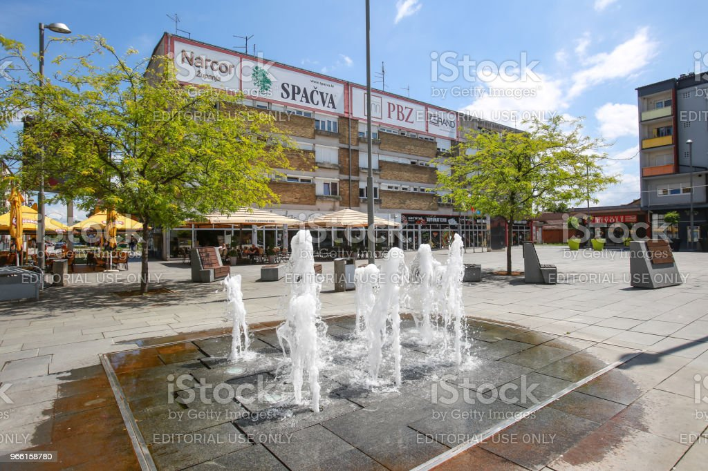 Water fountain in Zupanja - Royalty-free Bench Stock Photo