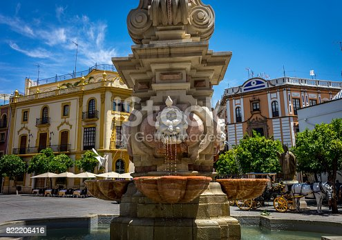 Water fountain on the streets of Seville, Spain, Europe