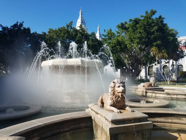 water fountain with lion in the plaza in Ponce, Puerto Rico stock photo