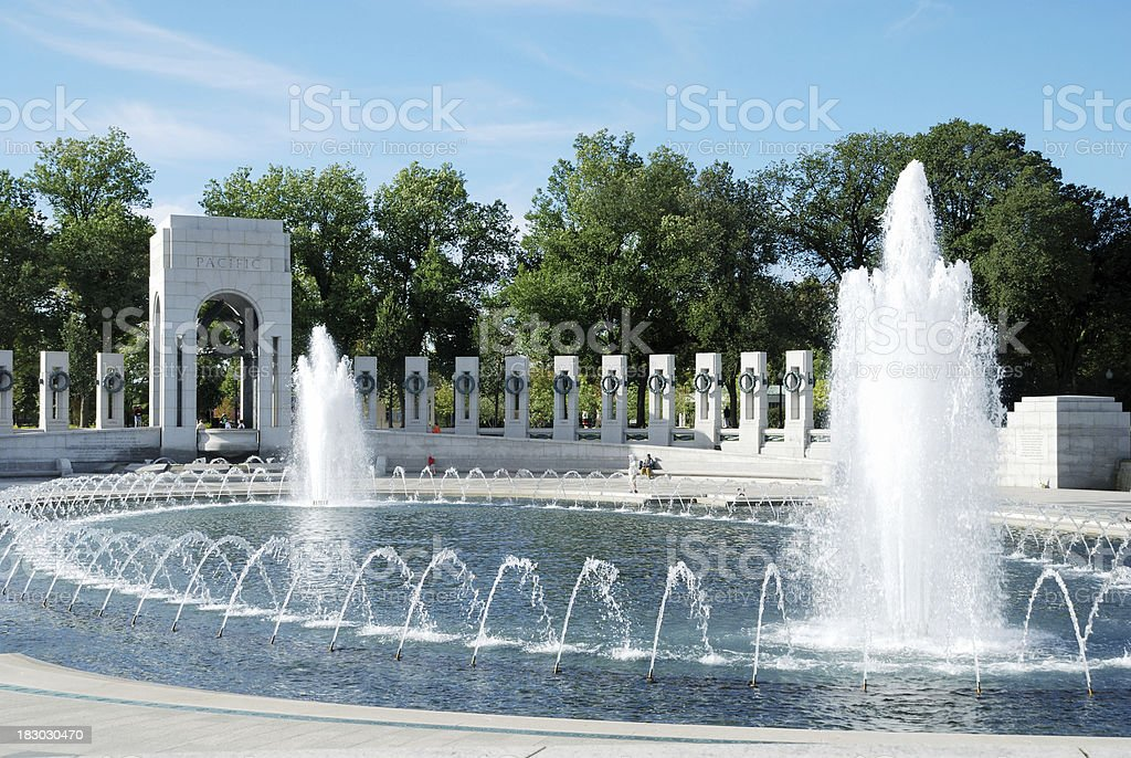 Water fountains at World War Two Memorial, Washington, DC stock photo