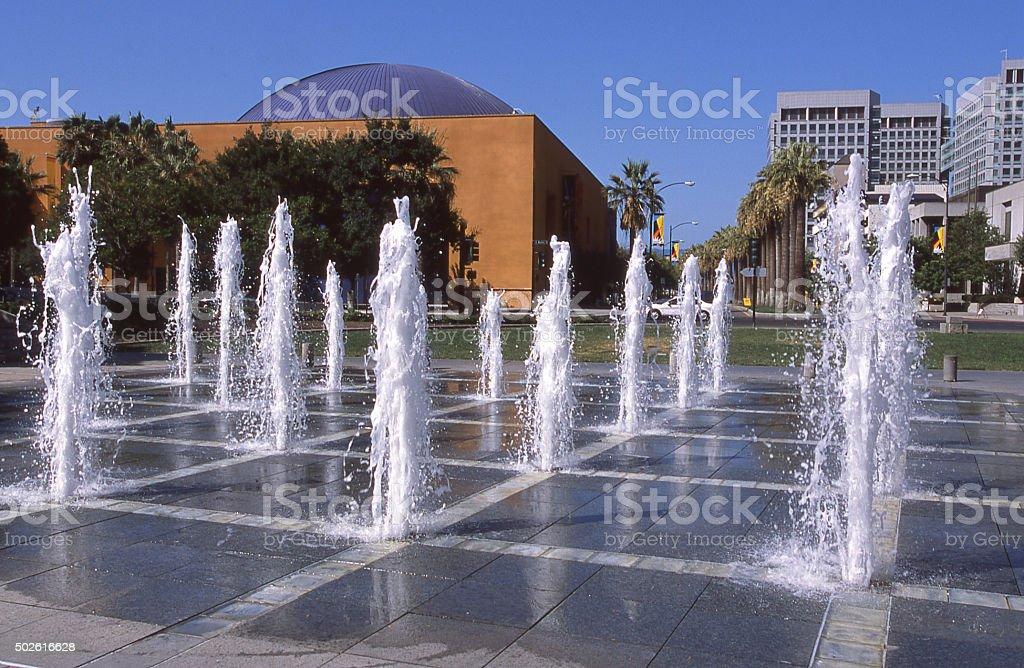 Water Fountains in Cesar Chavez park Downtown San Jose California stock photo