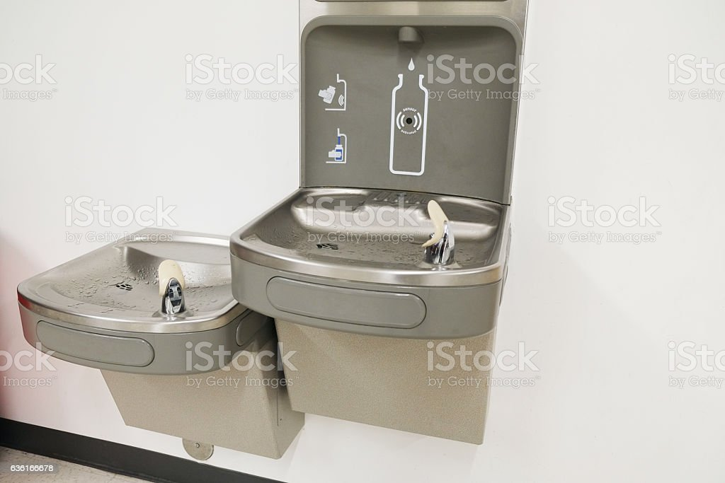 Water Fountains indoors stock photo