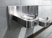 Water fountains attached on a wall