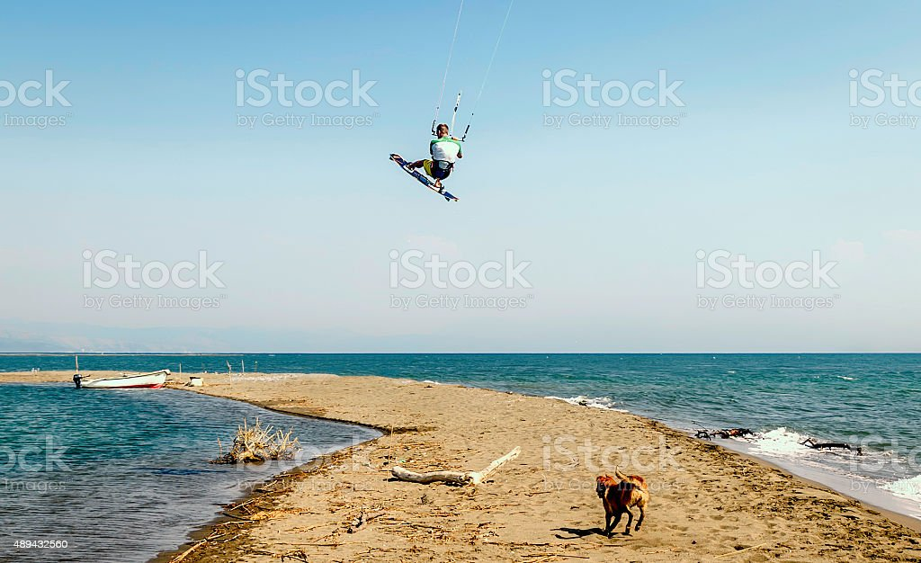Water fun and kite surf in Montenegro stock photo