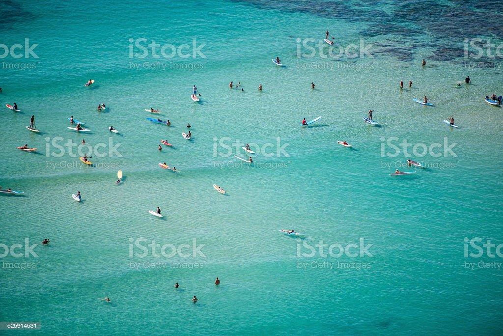Water fun on Waikiki beach stock photo