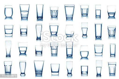 Water glass collection isolated on white background