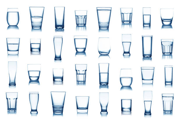 Water glass collection isolated on white background stock photo