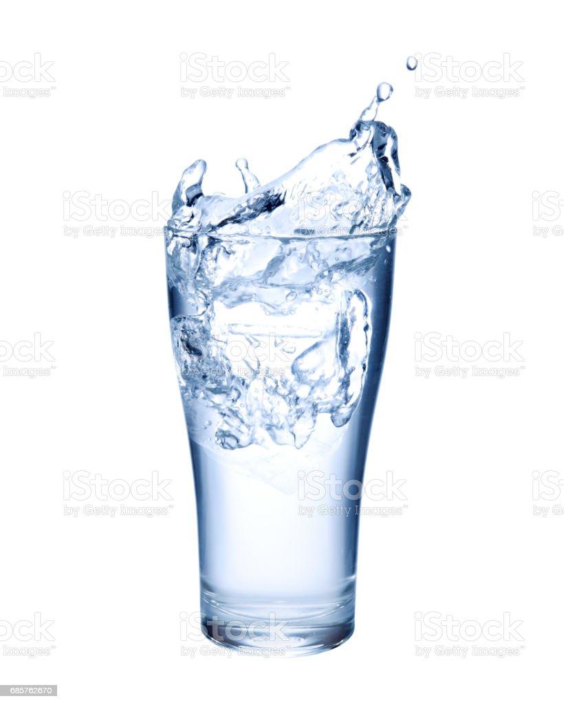 Water glass splashing zbiór zdjęć royalty-free