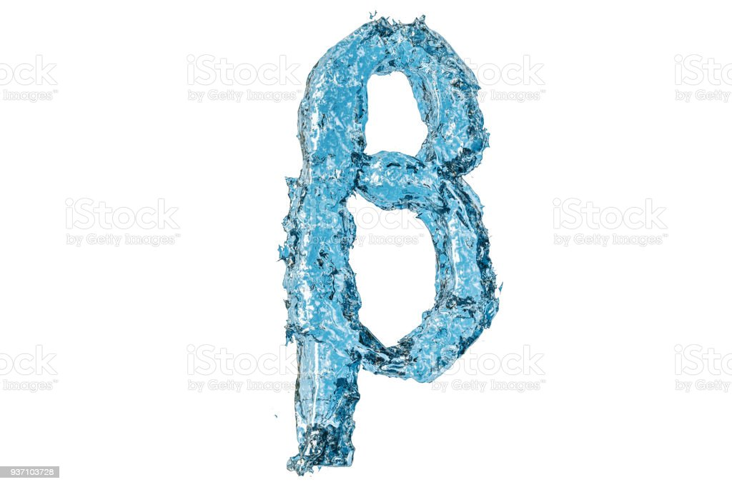 Water Greek Letter Beta 3d Rendering Isolated On White Background