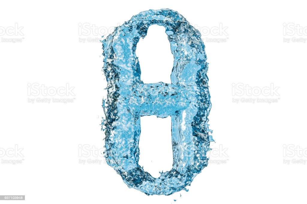 Water Greek letter theta, 3D rendering isolated on white background royalty-free stock photo