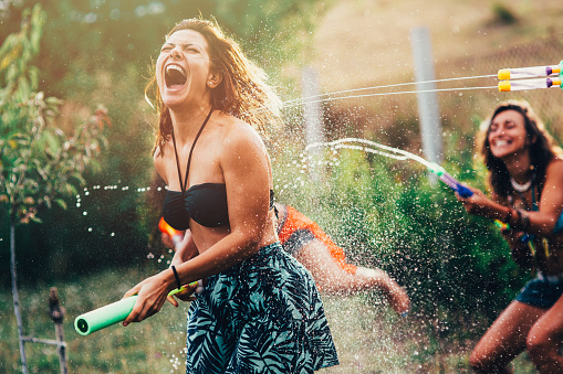 Water Gun Fight Stock Photo - Download Image Now