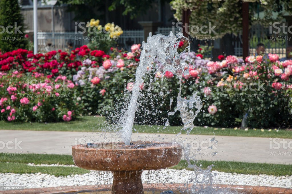 Water gushing off the fountain in the garden - Royalty-free Ao Ar Livre Foto de stock