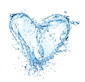 """""""Water heart symbol made of water splashes, isolated on white background"""""""