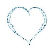 Heart of water splashing. Heart shape from pure water.