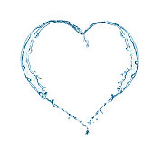 Heart of water splashing. Heart shape from pure water.