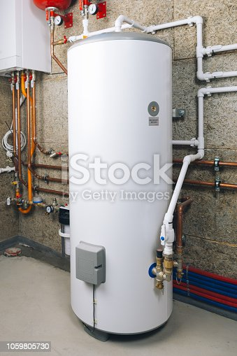 water heater in modern boiler room, close-up view