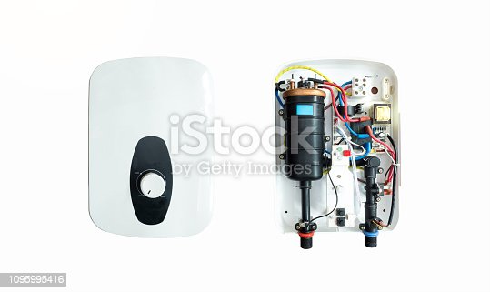 istock Water heater isolated on white background 1095995416