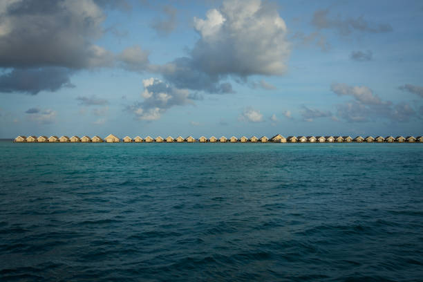 Water Huts on the Sea stock photo