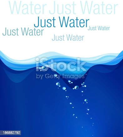 istock Water illustration, place for text. Clip art, card, wallpaper, label. 186882792