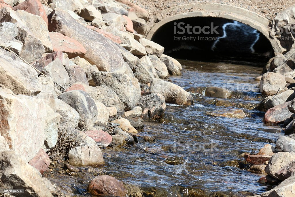 Water in a Ditch Flowing through a Tunnel stock photo