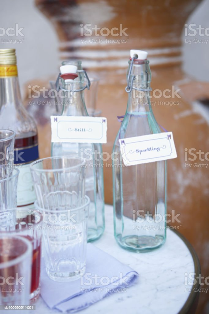 Water in bottles with empty glasses, close-up royalty-free stock photo