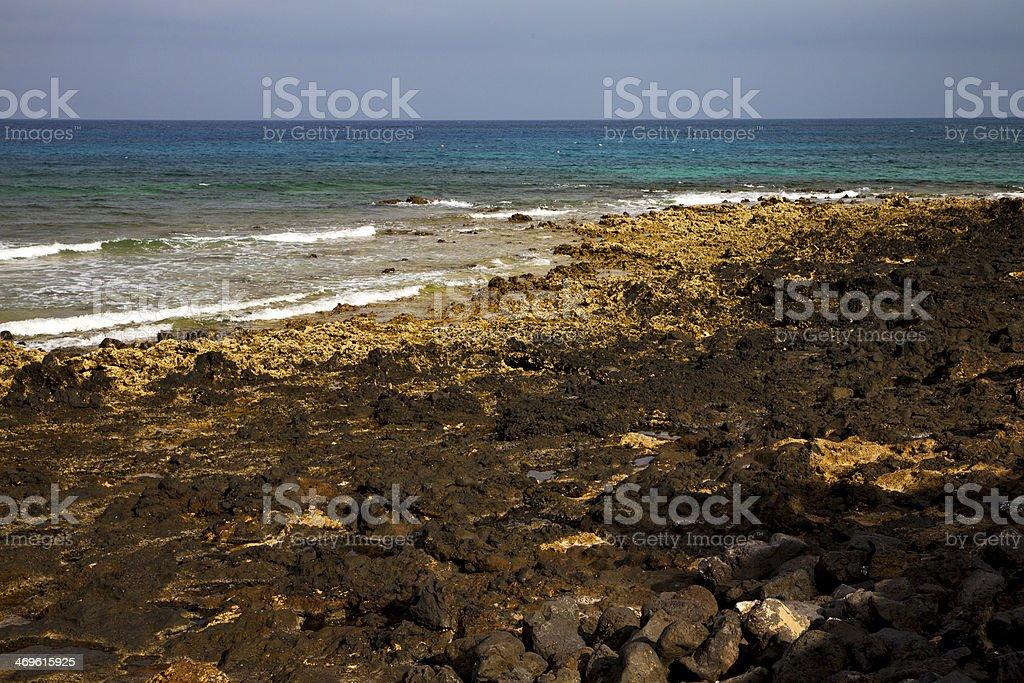 Water In Lanzarote Isle Foam Rock Landscape Stone Cloud