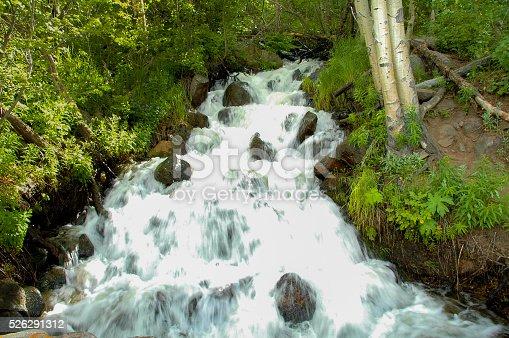A stream flows over the rocks in the mountain of Estes Park Colorado.