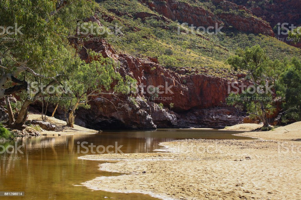 water in Ormiston Gorge, Central Australia stock photo