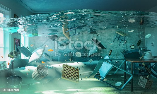 3d rendering image of flooded living room