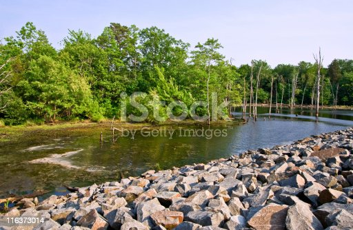 A reservoir in a pretty setting with rocks and trees
