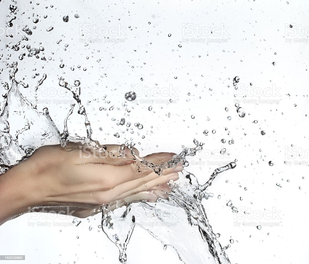 water  in woman hand stock photo