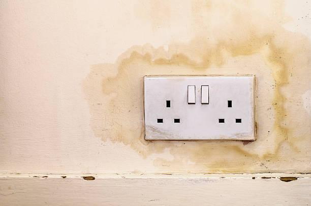 eau infiltrates au mur prise électrique de colombie-britannique - prise électrique à trois fiches photos et images de collection