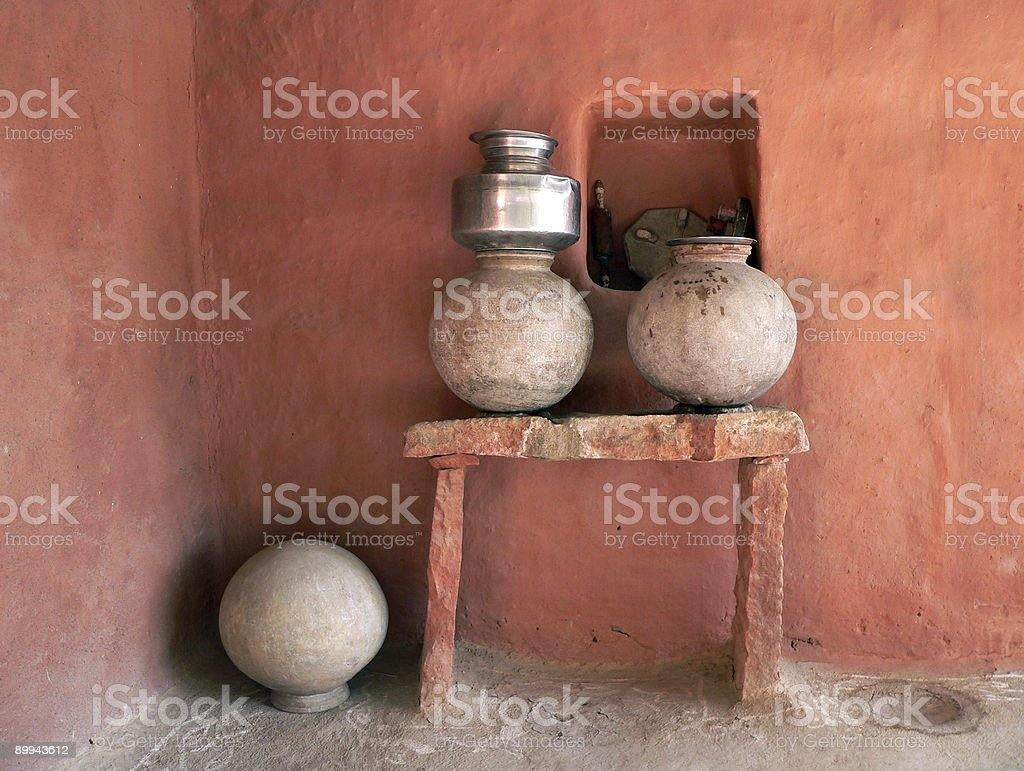 Water jars outside traditional adobe house in Rajasthan, India royalty-free stock photo