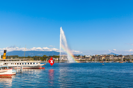 Water jet fountain with rainbow in Geneva