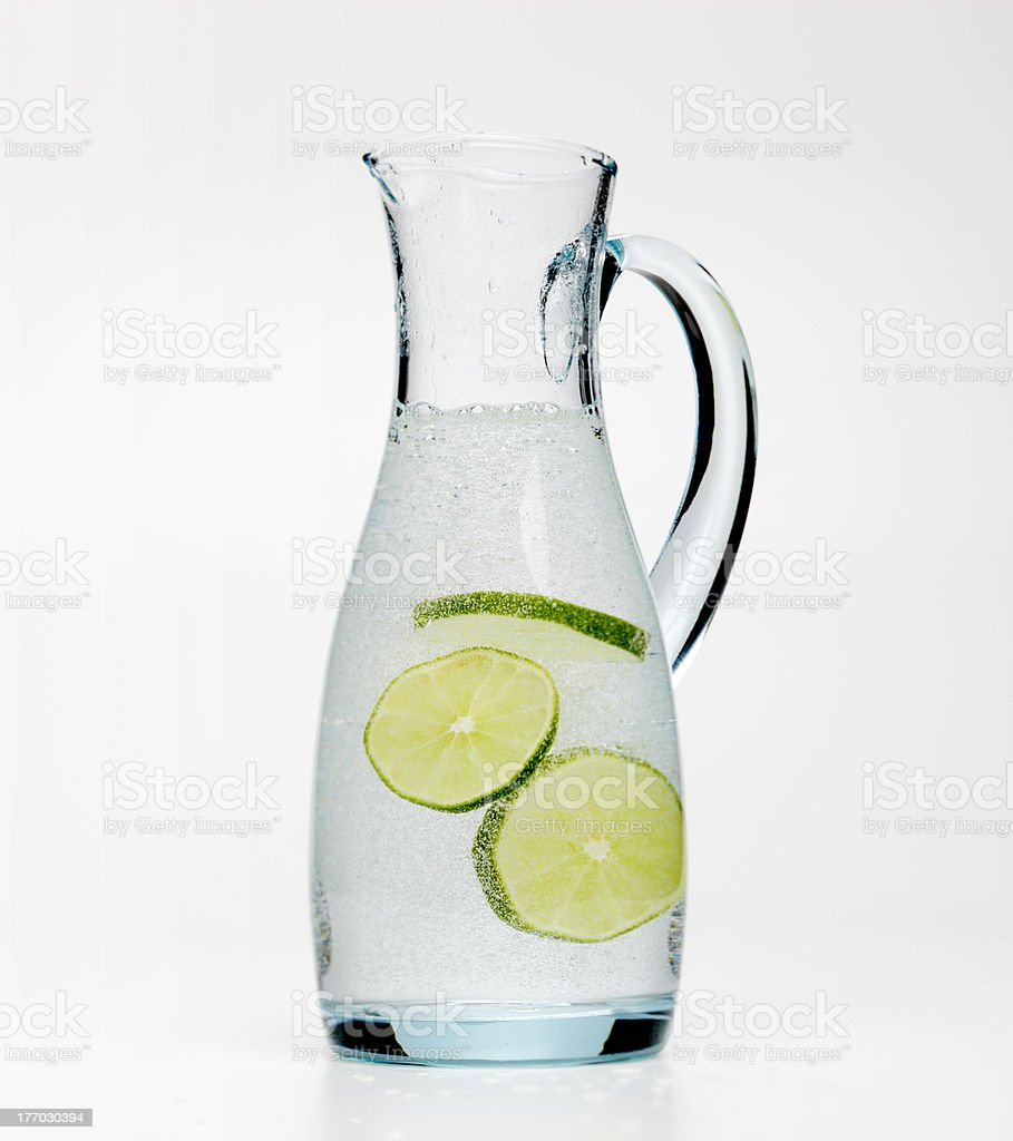 Water jug with lime royalty-free stock photo