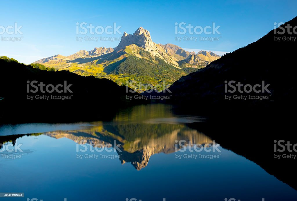 water, lake and mountain in Tena valley stock photo
